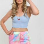 Kers embroidery crop top/Blue