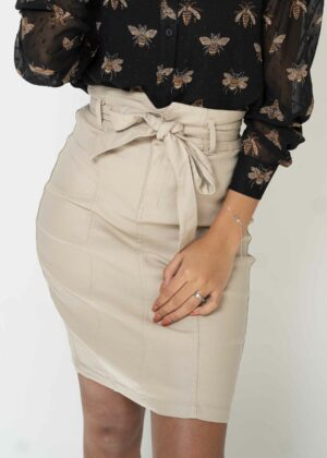 Lederlook rok/Beige