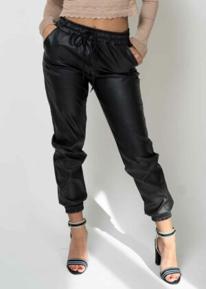 Lederlook broek/Black