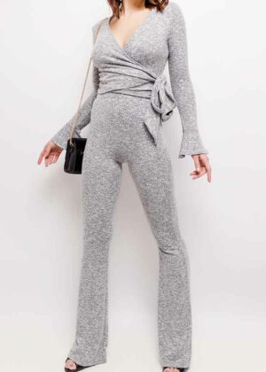 Lounge set - top + flared broek/Grey