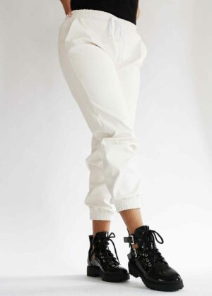 Lederlook broek/White
