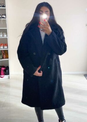 Double button Teddy Winter Coat/Black