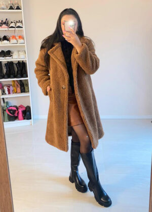 Oversized fluffy coat/Camel