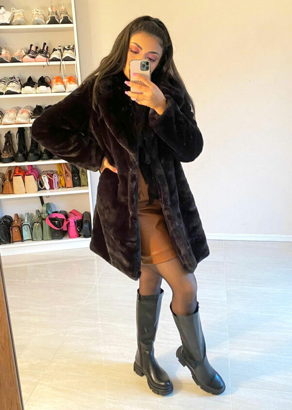 Faux bont coat/Black
