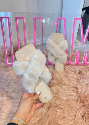 Rosa/Beige - Fluffy slippers