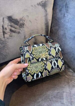 Ruby/brown - Snake print bag