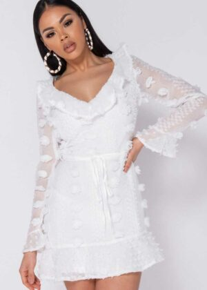 Detailed Mini dress/White