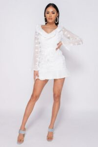Detailed Mini dress/White 8