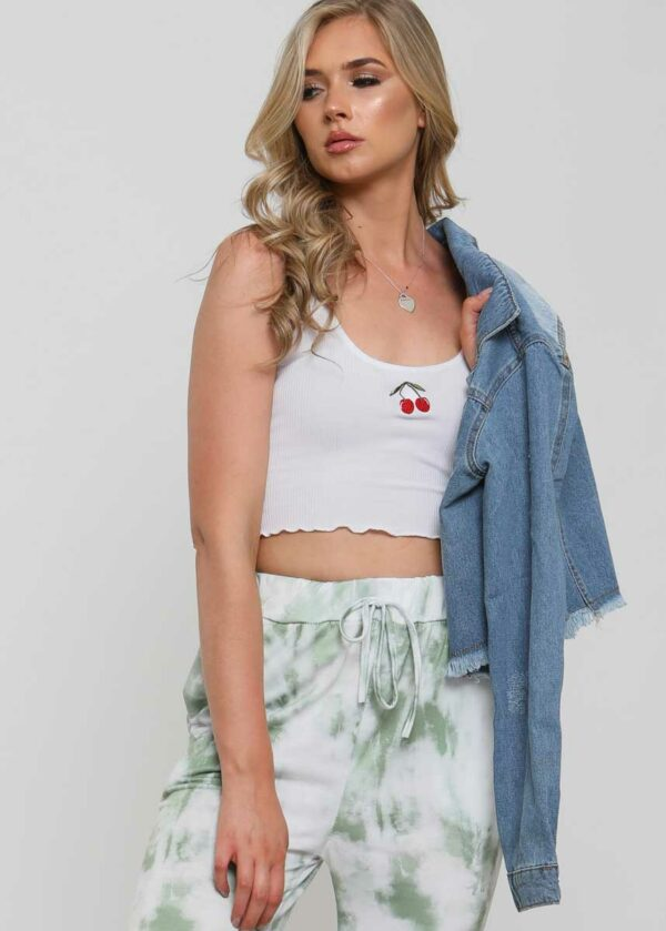 Kers embroidery crop top/White