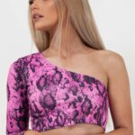 Snake Print One Shoulder Crop Top/Roze