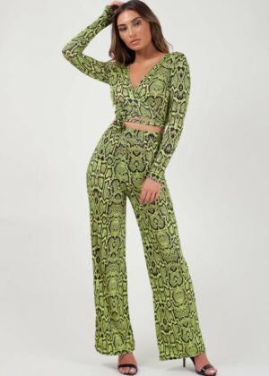 Snake Print Wrap Crop Top & flared broek 2-delig/Lemon